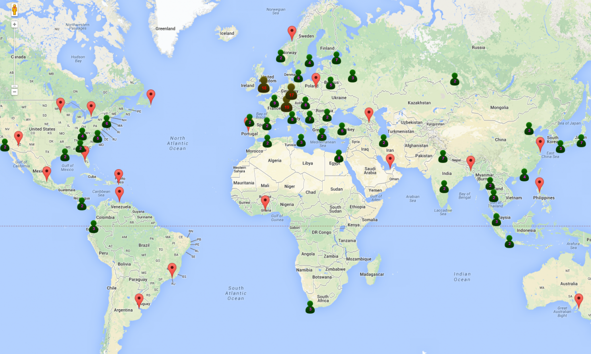A world map of 2014 summer students ep department newsletter a world map of 2014 summer students gumiabroncs Images